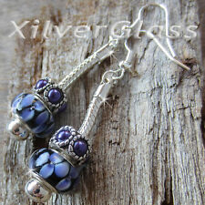 PURPLE FLOWERS GLASS BEADS & GLASS PEARLS SPACER DANGLE SILVER PLATED EARRINGS H