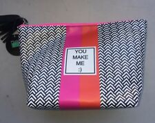 Modella Fashion Forever Zippered Makeup Cosmetic Bag 7x5 Pink & Orange / Chevron