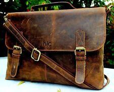 Mens New Buffalo Leather Briefcase Vintage Messenger Shoulder Laptop Bag Brown