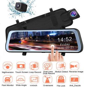 """9.66"""" Full Touch Screen Mirror Dash Cam Car Streaming Media Dual Lens DVR 1080P"""