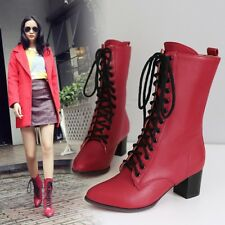 Ladies Military Combat Motorcycle Boots Ankle Lace up Chunky Heels Shoes Fashion