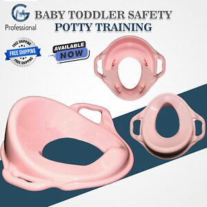 Portable Potty Training Toilet Seat Cover Kids Baby Toddler With Handles Pink
