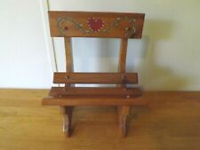 """Tole Hand Painted Hearts & Vines Wooden Vintage Doll Bench 11""""W X 14""""T X 6""""D"""