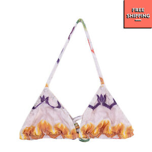 Triangle Bikini Top Size 8-9Y / 134 CM Printed Tulle Lined Halterneck