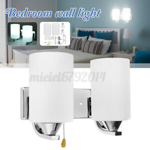 Double Glass Wall Sconce Light Indoor Fixture Bedside Lamp +LED Bulb Pull