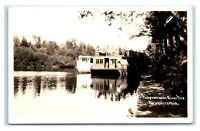 Postcard Tahquamenon River Trip, Newberry Michigan MI boats EKKP RPPC J4