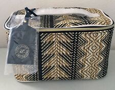 Estee Lauder Cosmetic Makeup Bag Purse Train Case Woven Straw Brown Tan w/handle