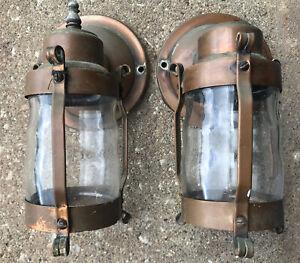 VTG 2 Pair Nautical Brass & Copper Wall Light Fixture Sconce Jar Shade