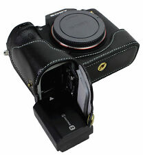Bottom Opening Real Leather Half Camera Case Bag for Sony Ilce- 7Rm3 a7r M3 Bk