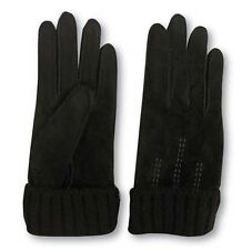 Womens SCALA BLACK Suede Leather Lined Gloves -MEDIUM