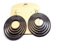 Green Tree Jewelry Oval Offset Black Satin Wood Wooden Laser Cut Earrings #1023