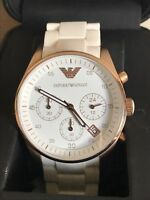 Emporio Armani Womens White And Rose Gold Watch