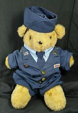 "1993 Vintage Stuffed By Me Plush Teddy Classic Brown Bear Airman Costume 13"" US"