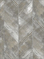 Wallpaper Designer Large Gray Gold Taupe Cream Herringbone Stripe