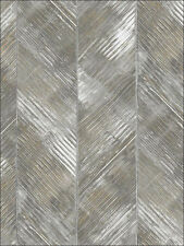 Wallpaper Designer Large Gray Gold Taupe Crean Herringbone Stripe