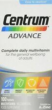 100 Centrum Advance A-Z Multivitaminas Minerales Adulto Fórmula Multi Vitaminas
