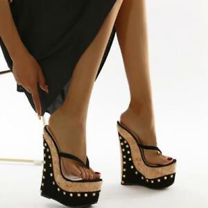 Womens Trendy Summer Thong Slippers Punk Rivet Wedge High Heels Platform Sandal