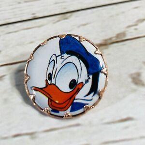 Vintage Original Disney Donald Duck Tin Pin!! Prong Set Tin W/ Bar & Hook Clasp