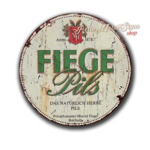 """Fiege Pilsener Vintage retro pub bar   12"""" round circular metal tin sign"""