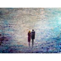 Morning Sunshine Couple Holding Hands Original Large Painting Impasto Textured