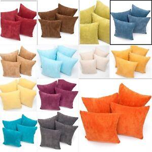 A Set of Four Plain Super Soft Chenille Stripe Cushion Covers