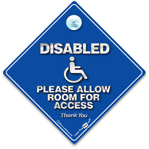 Disabled Please Allow Room For Access Car Sign, Suction Cup Wheelchair User Sign