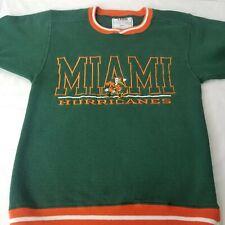 Vintage Miami Hurricanes Football Sweatshirt Green Orange Sebastian Small USA