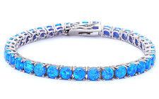 """14.5CT 4 Prong Blue Fire Opal .925 Sterling Silver Bracelet 8"""" Long"""