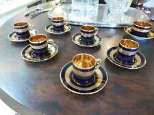 Tasses à café de style Empire porcelaine de Limoges Legle or 22 carats