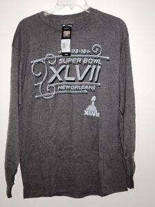 2013 New Orleans SUPER BOWL HISTORY XLVII Ravens (L) GREY Long Sleeve SHIRT!