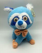 Sitting Raccoon 11 Inch Plush Blue Animal Toy New
