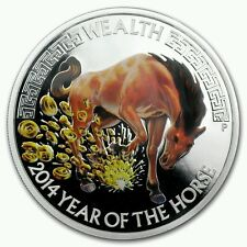 2014 Tuvalu 1oz. silver,Australian Perth mint,year of the horse,colorized coin