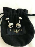 AUTHENTIC RARE LINKS OF LONDON STERLING SILVER, MOP AND ONYX CUFFLINKS