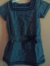 NWT baby Gap girl heather blue sailor style dress w/navy trim; size 3T