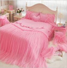 Cotton bedding set Lace Bed skirt bedding sets girls romantic princess bedding