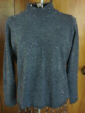 Womens M Gladys Bagley LS Gray with Black Beads Pull-over Sweater