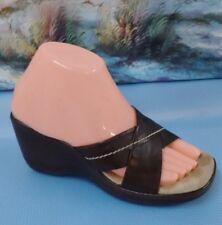 Bass Women Brown Leather Slides Sandal Shoe Size 6M