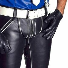 Men's Real Cowhide Leather Pants Jeans Trousers White Stripes Padded BLUF GAY