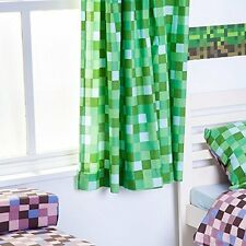 "Green Pixels Design 66"" x 72"" Ready Made Tape Top Curtain Pair tie backs"