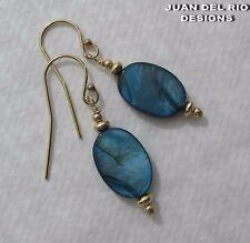 *Schillerndes Königs-Blau* Perlmutt Ohrringe Gold 585 14k GF/ygf Zier Perlen