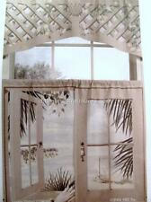 Cafe Curtains Window Art Mural ISLAND RETREAT Scene TIERS ONLY 44 x 24