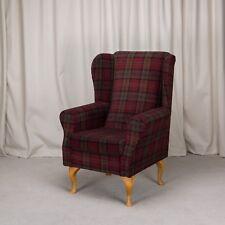 Westoe Wing Back Fireside Chair in LANA1258 Red Tartan with hardwood legs