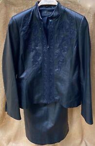 2 pc Dana Buchman Black 100% Genuine Leather Raised Scroll Jacket & Skirt Sz 6