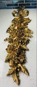 VTG ITALIAN GOLD GILT WOOD FRENCH BOW & RIBBON WALL APPLIQUÉ PLAQUE PEDIMENT