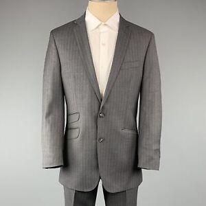 BEN SHERMAN 40 Gray Stripe Wool 33 x 30 Notch Lapel Suit