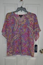 Chaps by Ralph Lauren Paisley Purple / Multi Tunic & Camisole Set Top