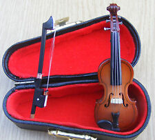 1:12 scale Wooden Violin & Bow IN A BLACK CASE DOLLS HOUSE String Instrument 149