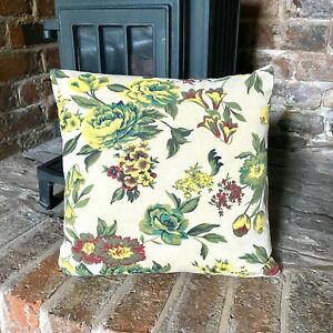 71. Handmade Big roses on Cream LINEN Cotton Cushion Cover.Various sizes