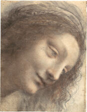 Leonardo Da Vinci Drawings: Head of The Virgin - Fine Art Print