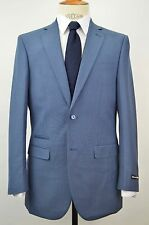 Men's Blue Sharkskin 2 Button Slim-fit Suit w/ Ticket Pocket SIZE 36S NEW